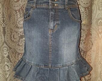 Denim Jean Mini Skirt with Ruffle Trim Rave Grunge Goth Small 5