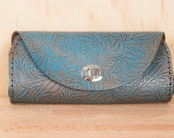 Small Leather Clutch - Handmade in Tooled Floral Leather in Turquoise - Leather Purse, Clutch, Wristlet, or Waist Bag