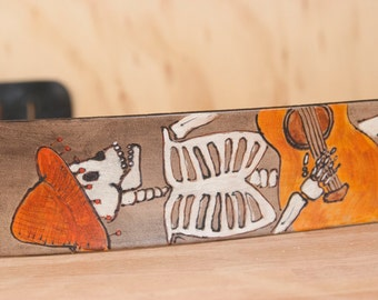 Leather Guitar Strap - Handmade with Dia De Los Muertos Dancing Skeleton and Flowers - The Guitar player - For Acoustic or Electric Guitars
