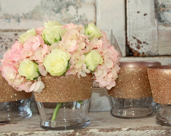 Rose gold vases, wedding decor,  Set of 6 rose gold dipped centerpiece vases or candle holders, rose gold glitter vase, wedding table decor