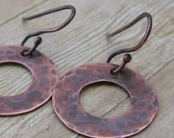Hammered Copper Washer Earrings, Industrial Dangle Earrings, Oxidized Copper Jewelry, Rustic Jewelry, Handmade Copper Earrings