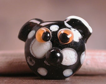 Lampwork Glass Dog Bead Black & White Divine Spark Designs SRA