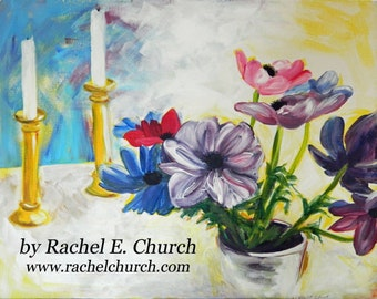 anemones - still life original acrylic painting on canvas by Rachel E. Church