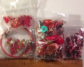 Red bead and charm lot