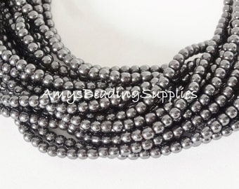 2 Strands, Non Magnetic Hematite Round Beads 4mm, 16-Inch Strand (100+ Beads)