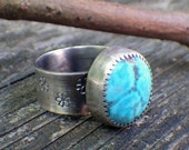 Kingman Mine Turquoise daisy sterling silver ring  size 6