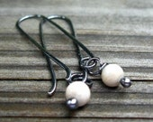 20% OFF TODAY - River Stone Berries - oxidized river stone earrings