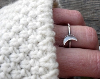 20% OFF TODAY - Crescent Moon Ring … sterling silver crescent moon ring stacking ring lunar ring