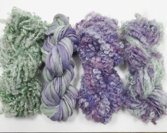 Lavender Fields Handspun Art Yarn Mini Skein Collection Variety Pack 40 yards purple green