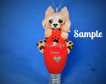 Cream / Light Red Pomeranian Dog Christmas Holidays Light Bulb Ornament Sally's Bits of Clay PERSONALIZED FREE with dog's name