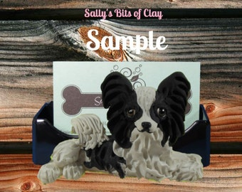 Black and White Papillon dog Business Card Holder / Iphone / Cell phone / Post it Notes OOAK sculpture by Sally's Bits of Clay