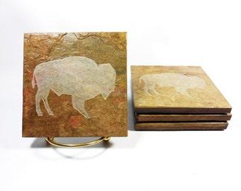 Bison Coasters - 4 Handmade Slate Coasters, Carved Stone Coaster, Natural Coaster Set, Etched Drink Coasters, Buffalo Coasters, Animal Decor