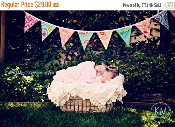 STOREWIDE 15% OFF Fabric Flag Bunting Multi Colored Surprise Banner of Large, Double Sided Flags in a Designer's Choice Mixed Color Theme.