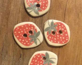 FREE SHIPPING Set of 4 Handmade Ceramic Buttons - Strawberry