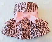 Female Dog Diaper Skirt  Perfect for your dog in Season and House Training Pink Leopard Glitter Ribbon Double Ruffle