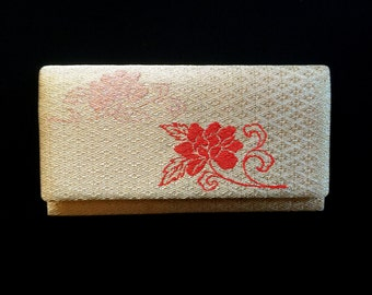 Vintage Japanese Kimono Clutch - Japanese Clutch - Bridal Clutch - Vintage Bag - Evening Bag - Gold With Pink Red Flowers Clutch