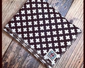 RockerByeBasics Baby or Toddler Blanket 36x45 black and white cross plus math hipster with black flannel