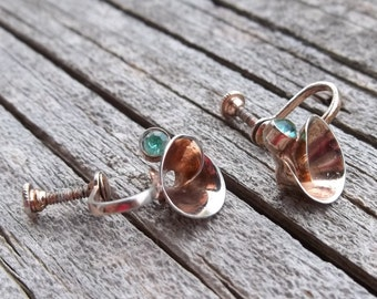 Sterling Silver Aqua Marine Stone Earrings ,1940's Small,Elegant 925 silver Curls, Screw backs,Something Blue