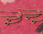 Antique brass fish hook earwire size 20x10mm thick 20g, 24 pcs (item ID XMHB00208AB)