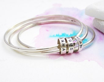 Personalised Bangle | Silver Stacking Bangles |Silver Bracelet | Unique Gift for Her | Mothers Days Gift | Classic Bangle