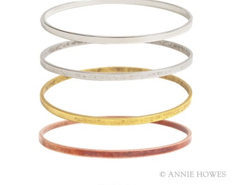 Boho Stacking Bangle Bracelet. Adorn with A Charm for An Easy Gift. Wide BBFL