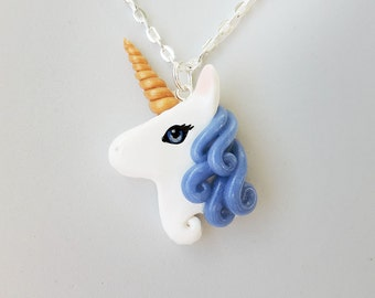 Polymer Clay Blue Agate Unicorn Pendant Necklace