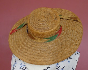 1930's Dobbs Wide Brim Boater Straw Hat