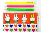 Handmade Miffy Fabric Purse / Make up bag / Pencil case  by Jane Foster  - Dick Bruna retro pouch