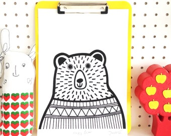 New A4 Happy Bear Screen Print by Jane Foster  - signed limited edition