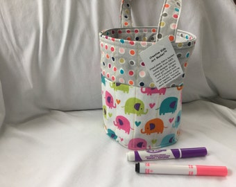 Creative Kids Art Bucket - Bright Elephants and Polka Dots - Fabric Basket Organizer Easter Basket