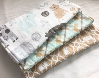 Burp Cloth Gift Set for Baby Girl or Baby Boy - Neutral Modern Essentials - Jungle Baby in tan gray and Aqua - Set of 3 burp pads