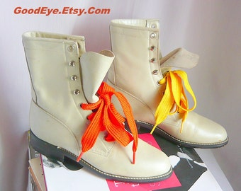 Vintage Oxford Ankle Boots Leather DIAMOND J Rockabilly Granny Lace Up Combat Pearl WHITE size 6 .5 B Eur 37 UK 4 Justin