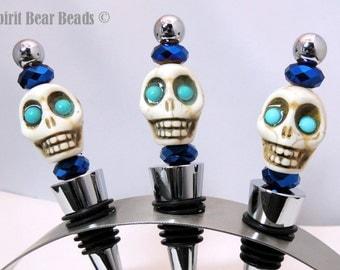 Turquoise Skull Wine stopper Deep Metallic Blue Beads  Dia De Muertos Day of the Dead  Gift Cinco De Mayo