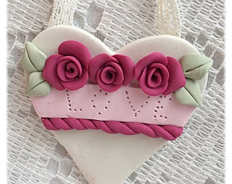 White Clay Heart Pink Roses Ornament/Lapel PIN Shabby Chic ECS sct schteam svfteam