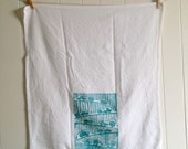 tea towel, dish towel, kitchen towel, blockprint, turquoise, caravan