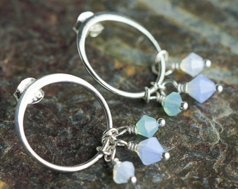 Sterling silver circle earrings, post earrings with Swarovski crystals, simple, dainty