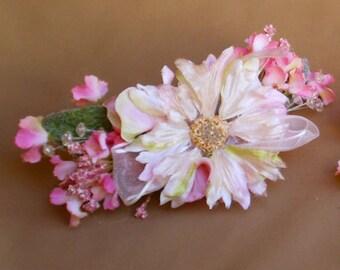 floral barrette boho women's hair flower fashion bridal wedding renaissance faerie fairy costume accessory
