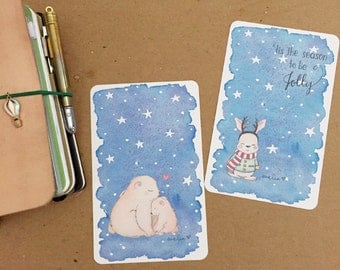 Rabbit & Polar Bear Watercolor Illustration Laminated Shitajiki Pencil Board for Travelers Notebook