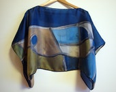 Silk blouse hand painted-Silk scarf handpainted-Wedding blouse-Scarves for her-kimono-Silk blue-grey-green-blouse-43x18in (88 x 43cm)