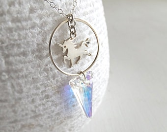 Circle Spike Unicorn Jewelry Necklace - Sterling Silver Unicorn - Swarovski Spike Pendant - Holographic Crystal - Geometry - Gift for Her