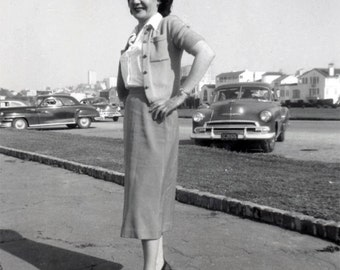 vintage photo 1952 Young Woman Marina San Francisco Hands on Hip