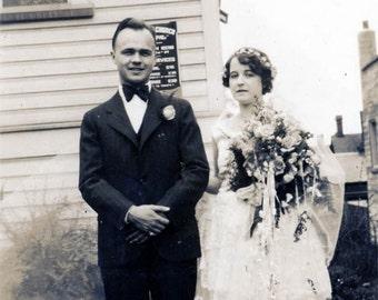 vintage photo 1929 Little People Wedding Bride & Groom by Church Enveloped by her Veil