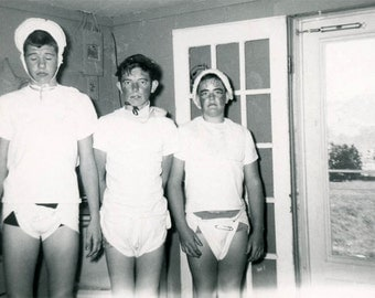 vintage photo 1958 Halloween Costume Teen Guys Infantile Wear Adult Diapers Baby Clothing RARE