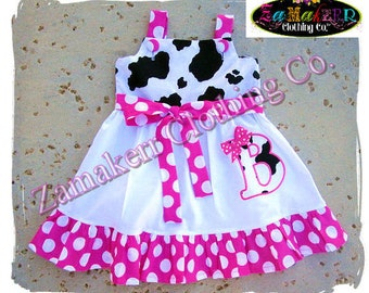 Custom Boutique Clothing Cute Girl Cow N Dots Aline Jumper Ruffle Dress 3 6 9 12 18 24 month size 2T 2 3T 3 4T 4 5T 5 6 7 8