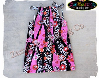 Custom Boutique Girl Zebra Summer Dress Clothing Pink Zoo Toddler Baby Birthday Size 3m 6m 9m 9 12 18 24 month 2 2T 3 3T 4T 4 5 5T 6 7 8