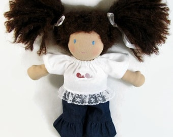 """Waldorf doll clothing, bird patch lace ruffle top and ruffled jeans for your 10 inch doll, 10"""" doll clothing"""