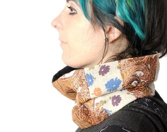 Brown patchwork cowl, Caramel brown floral snood, Light brown beige Cowl Scarf Neckwarmer, Gift for women, Womens accessories, MALAM