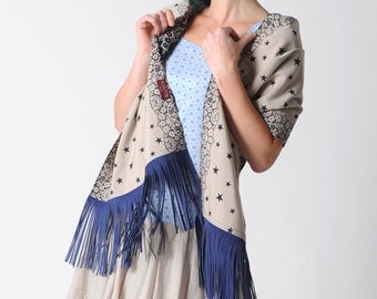 Blue fringe scarf, Beige shawl with stars and leather fringes, navy blue and beige, Fringed scarf, Spring fashion accessory