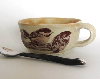 Stoneware Soup Mug - Chickadees - Hand Thrown Pottery - Ready to Ship