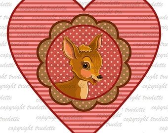 Deer  Clipart Single, commercial use, Love / Valentine Deer / Valentine Clip Art / Digital Clipart , Heart clipart, love clipart, autumn owl